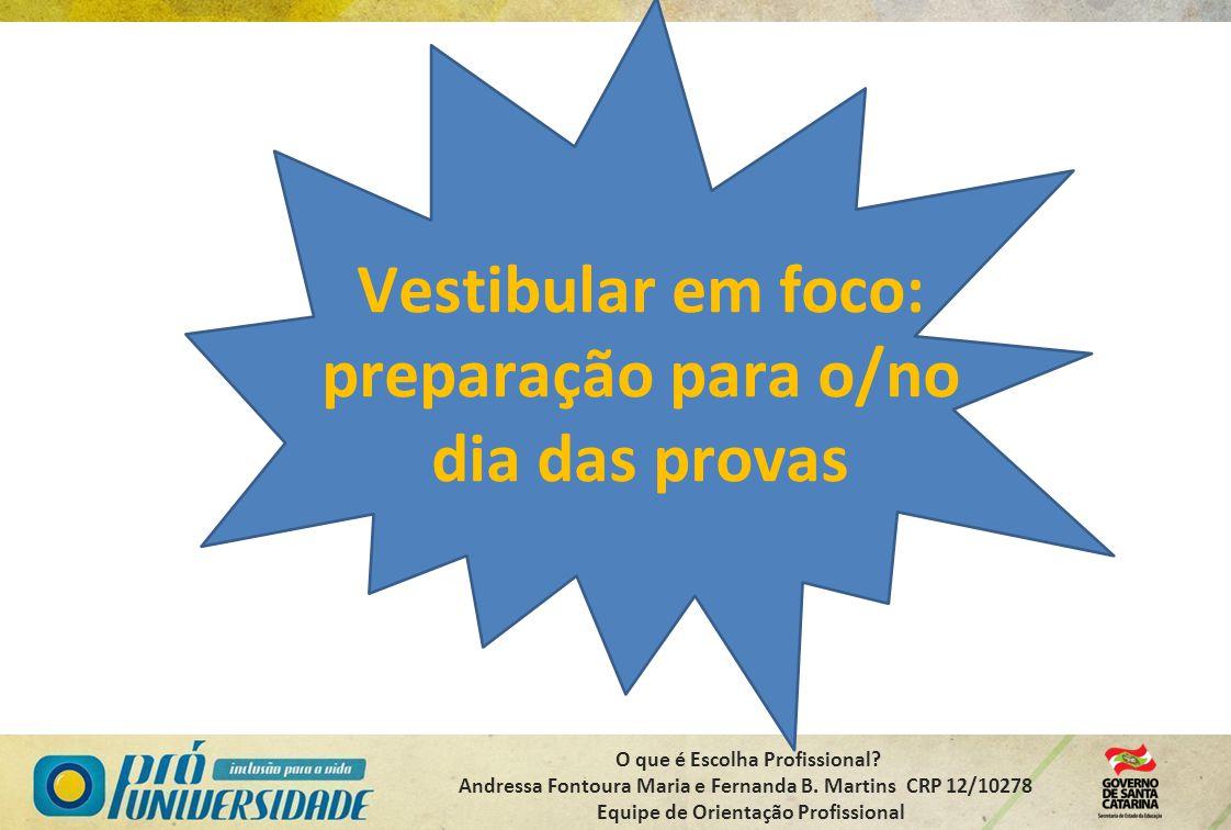 O que é Escolha Profissional? Andressa Fontoura Maria e Fernanda B. Martins CRP 12/10278 Equipe de Orientação Profissional Vestibular em foco: prepara