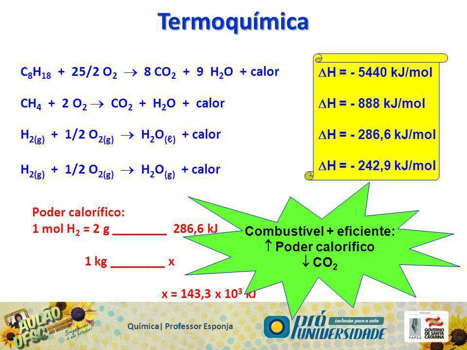 Termoquímica É a parte da química que estuda a variação de energia  H que acompanham as reações químicas. (entalpia = troca de calor) Reações Endotér
