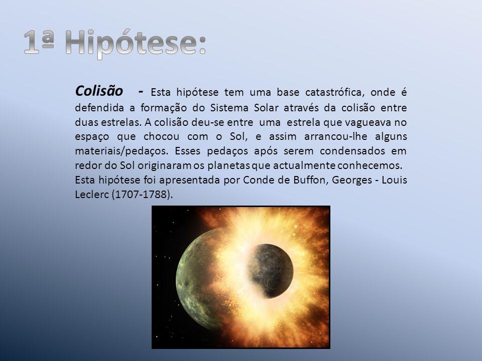 Colisão - Esta hipótese tem uma base catastrófica, onde é defendida a formação do Sistema Solar através da colisão entre duas estrelas.