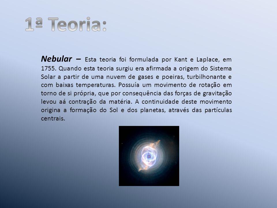 Nebular – Esta teoria foi formulada por Kant e Laplace, em 1755.