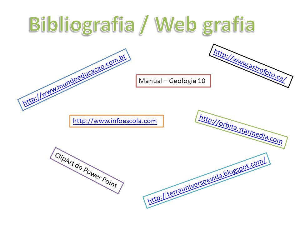 http://www.astrofoto.ca/ http://www.mundoeducacao.com.br Manual – Geologia 10 http://orbita.starmedia.com ClipArt do Power Point http://terrauniversoe