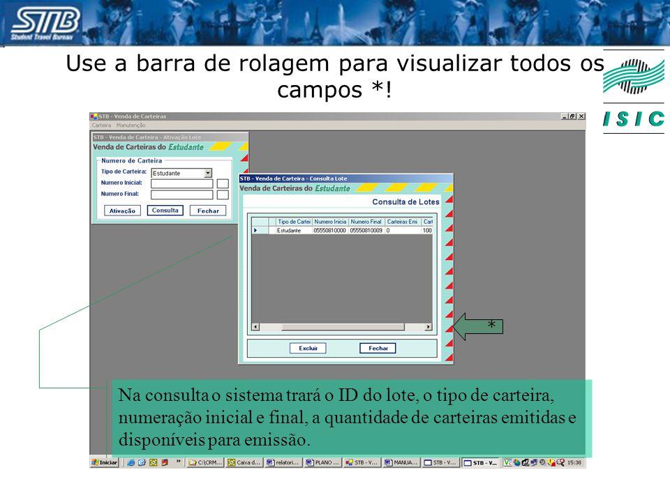 Use a barra de rolagem para visualizar todos os campos *! * Na consulta o sistema trará o ID do lote, o tipo de carteira, numeração inicial e final, a