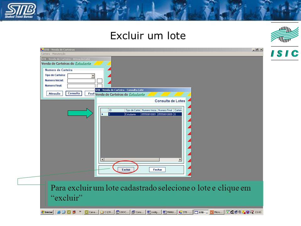 """Excluir um lote Para excluir um lote cadastrado selecione o lote e clique em """"excluir"""""""