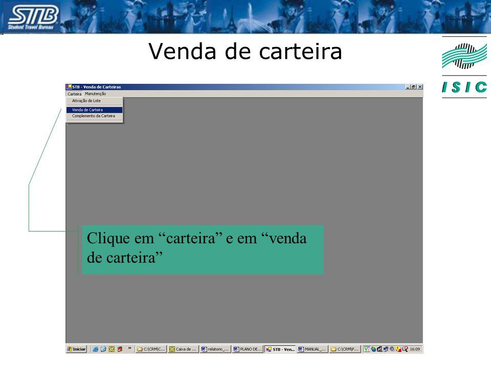 """Venda de carteira Clique em """"carteira"""" e em """"venda de carteira"""""""