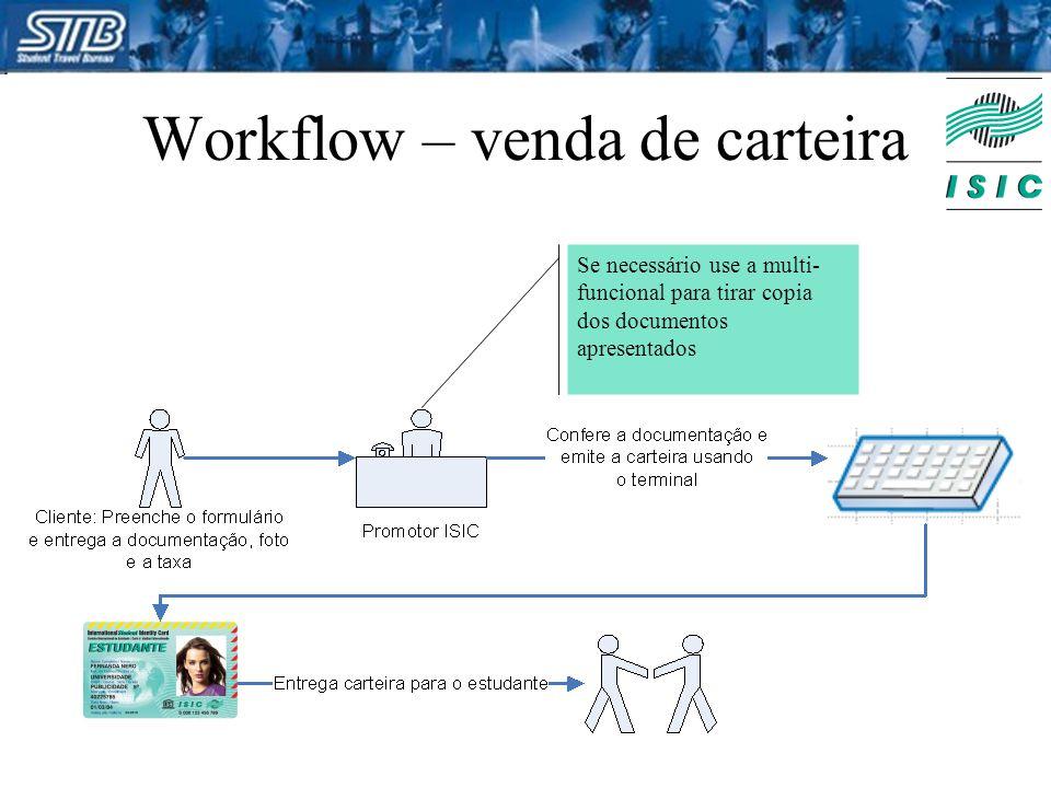 Workflow – venda de carteira Se necessário use a multi- funcional para tirar copia dos documentos apresentados