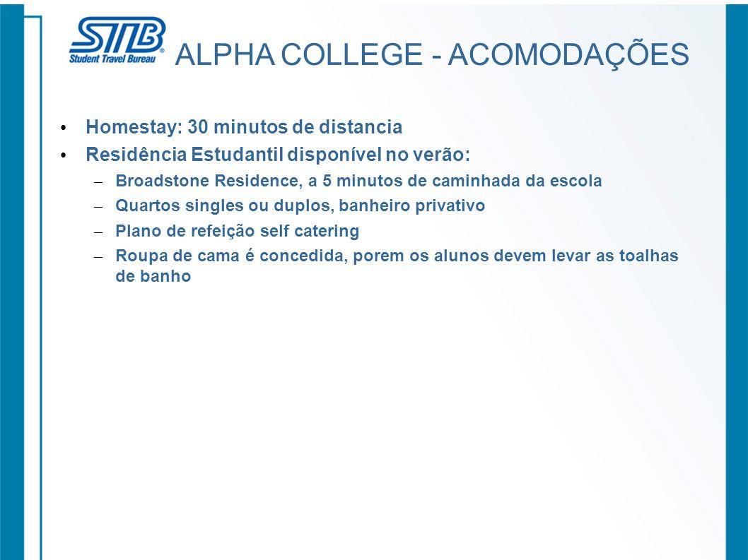 ALPHA COLLEGE - ACOMODAÇÕES Homestay: 30 minutos de distancia Residência Estudantil disponível no verão: – Broadstone Residence, a 5 minutos de caminh