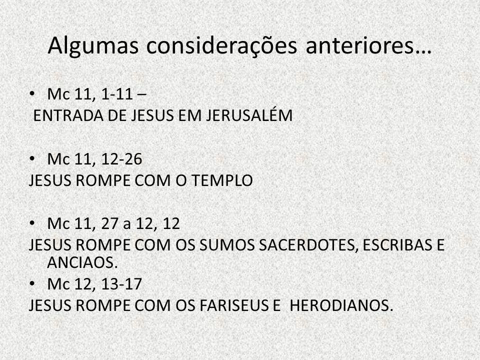 Algumas considerações anteriores… Mc 11, 1-11 – ENTRADA DE JESUS EM JERUSALÉM Mc 11, 12-26 JESUS ROMPE COM O TEMPLO Mc 11, 27 a 12, 12 JESUS ROMPE COM OS SUMOS SACERDOTES, ESCRIBAS E ANCIAOS.
