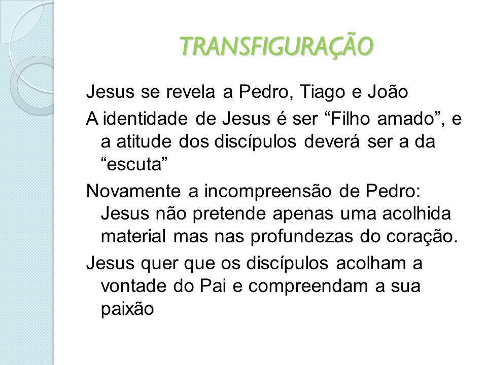 """TRANSFIGURAÇÃO Jesus se revela a Pedro, Tiago e João A identidade de Jesus é ser """"Filho amado"""", e a atitude dos discípulos deverá ser a da """"escuta"""" No"""