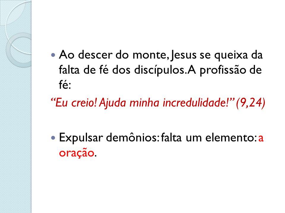 """Ao descer do monte, Jesus se queixa da falta de fé dos discípulos. A profissão de fé: """"Eu creio! Ajuda minha incredulidade!"""" (9,24) Expulsar demônios:"""