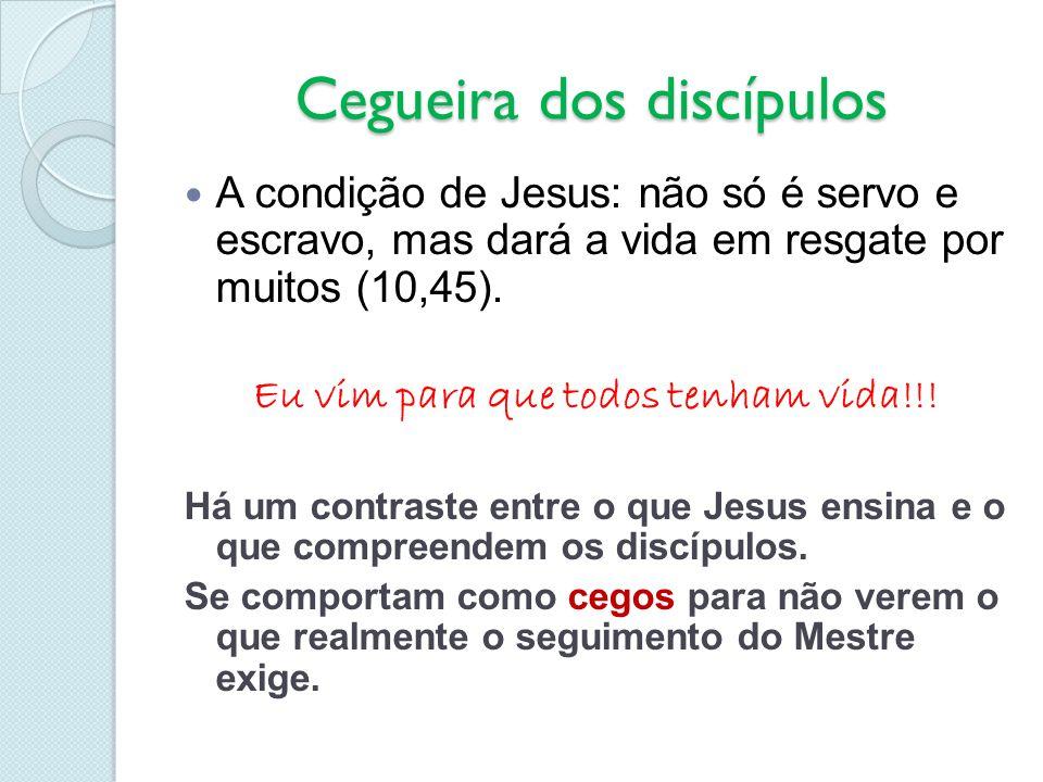 Cegueira dos discípulos A condição de Jesus: não só é servo e escravo, mas dará a vida em resgate por muitos (10,45). Eu vim para que todos tenham vid