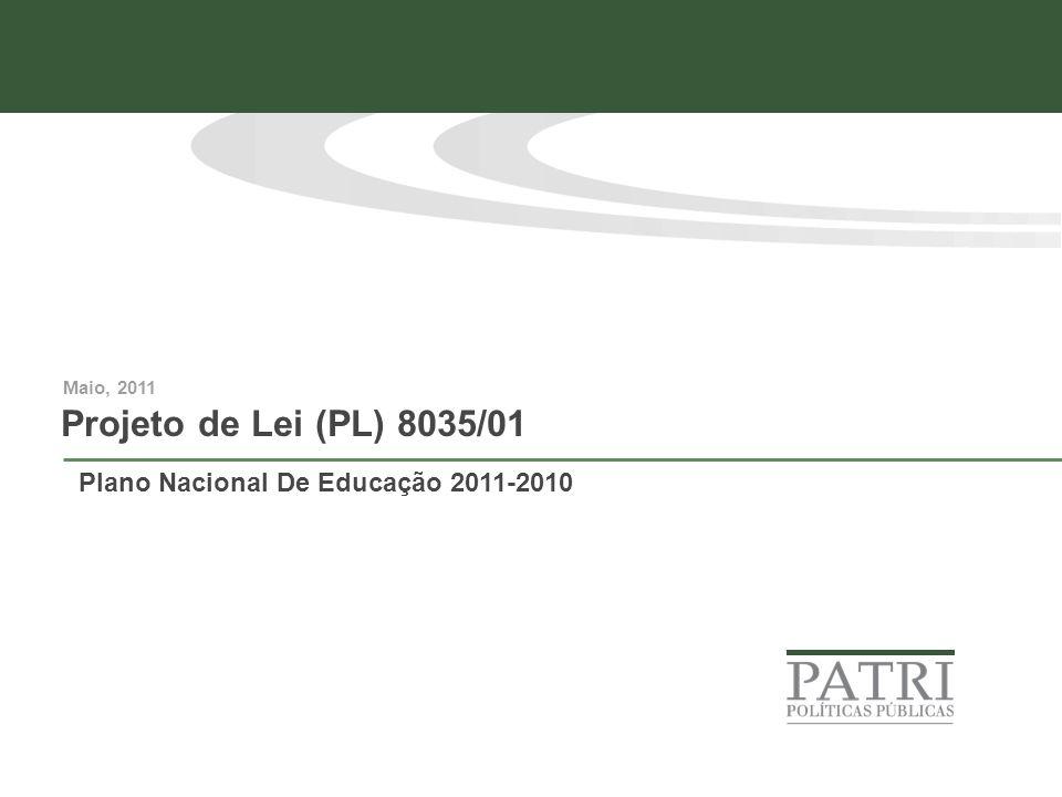 Projeto de Lei (PL) 8035/01 Maio, 2011 Plano Nacional De Educação 2011-2010