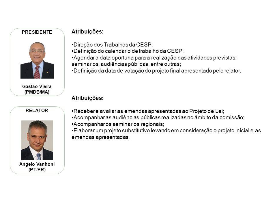 PL 8035/10 – Roteiro de Trabalho da CESP 6 Serão realizados seminários regionais em parceria com as assembleias legislativas locais para debater o PNE.