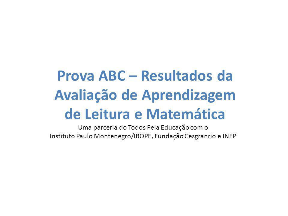 Prova ABC – Resultados da Avaliação de Aprendizagem de Leitura e Matemática Uma parceria do Todos Pela Educação com o Instituto Paulo Montenegro/IBOPE, Fundação Cesgranrio e INEP