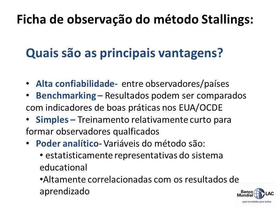 Quais são as principais vantagens? Alta confiabilidade- entre observadores/países Benchmarking – Resultados podem ser comparados com indicadores de bo