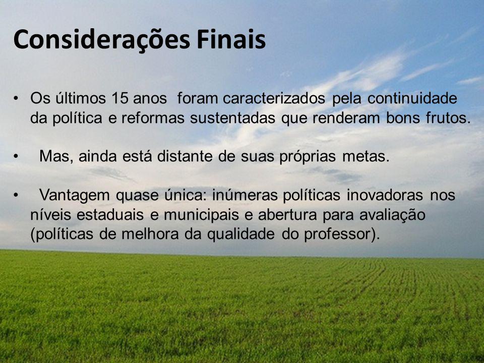 Considerações Finais Os últimos 15 anos foram caracterizados pela continuidade da política e reformas sustentadas que renderam bons frutos. Mas, ainda