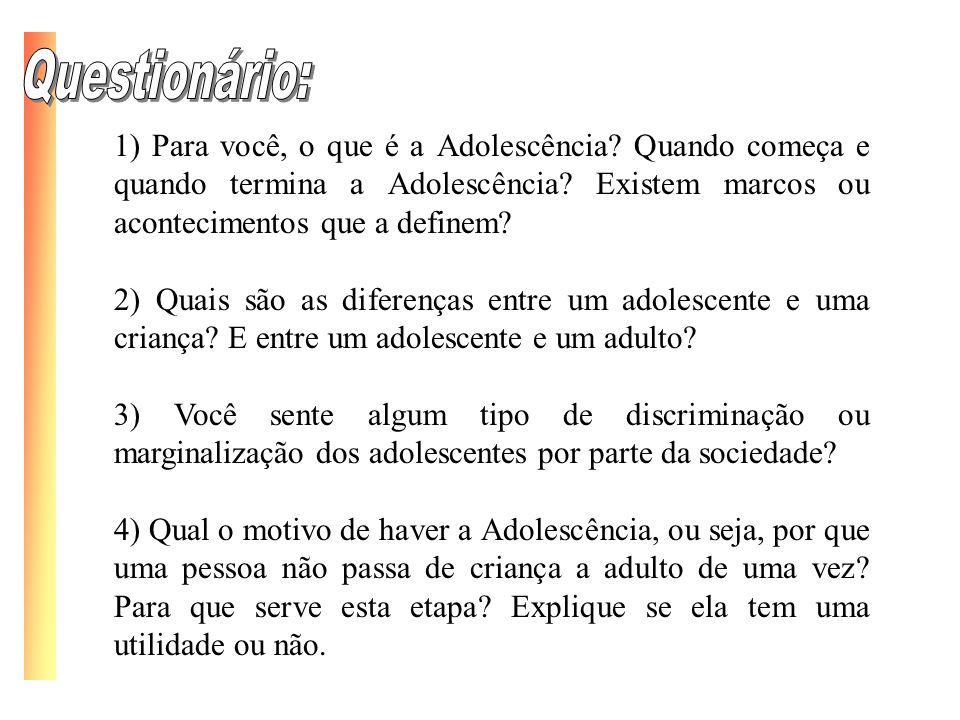 1) Para você, o que é a Adolescência? Quando começa e quando termina a Adolescência? Existem marcos ou acontecimentos que a definem? 2) Quais são as d