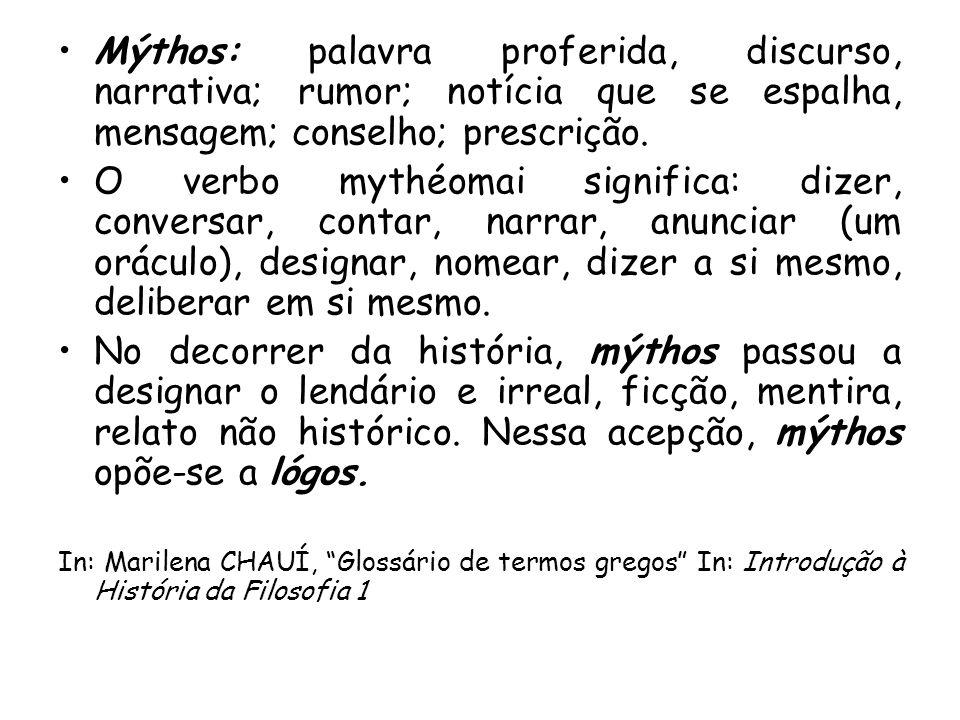 Mýthos: palavra proferida, discurso, narrativa; rumor; notícia que se espalha, mensagem; conselho; prescrição. O verbo mythéomai significa: dizer, con
