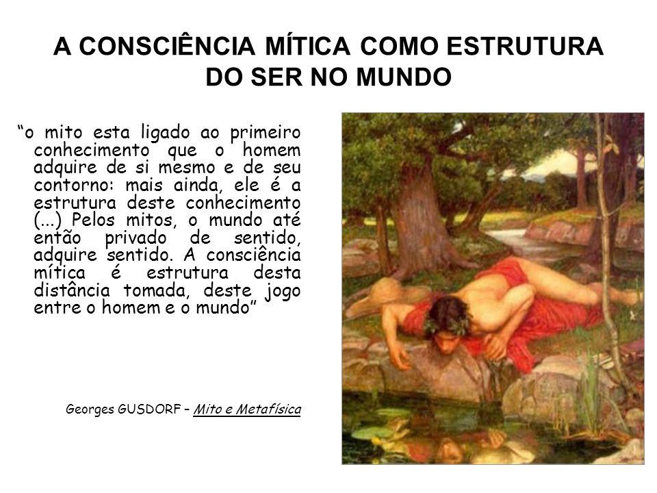 """A CONSCIÊNCIA MÍTICA COMO ESTRUTURA DO SER NO MUNDO """"o mito esta ligado ao primeiro conhecimento que o homem adquire de si mesmo e de seu contorno: ma"""