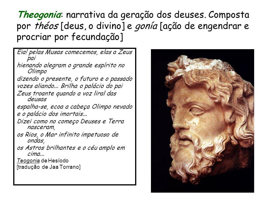 Theogonia: narrativa da geração dos deuses. Composta por théos [deus, o divino] e gonía [ação de engendrar e procriar por fecundação] Eia! pelas Musas