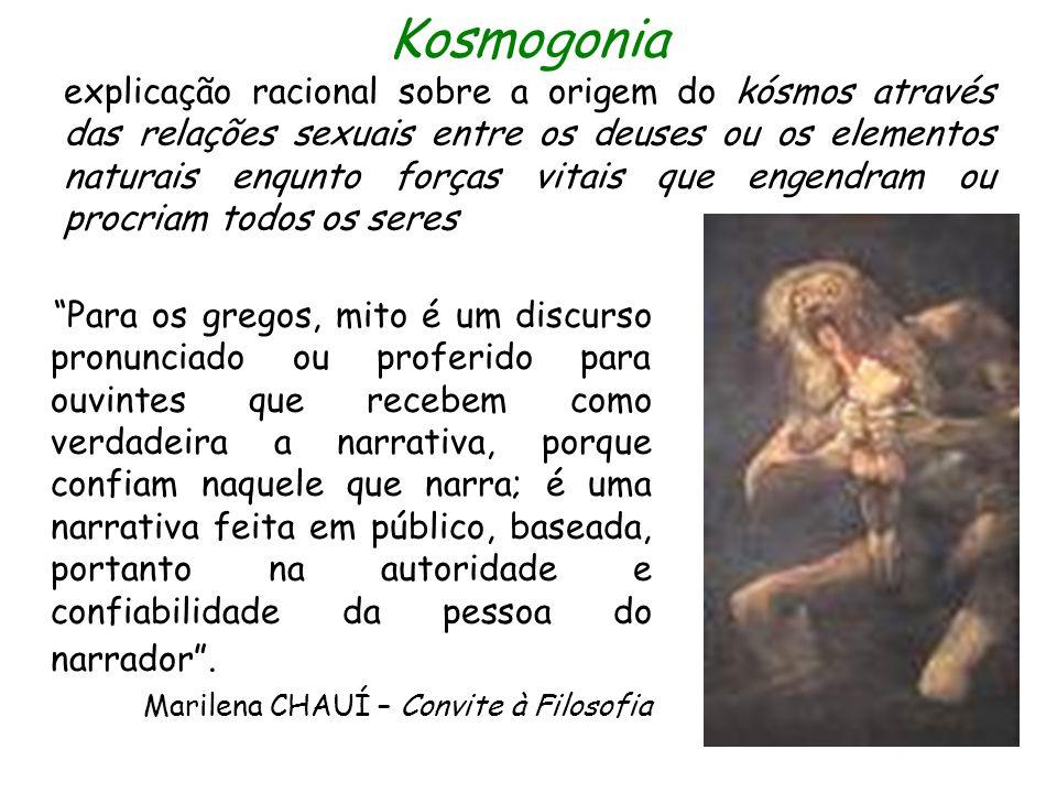 Kosmogonia explicação racional sobre a origem do kósmos através das relações sexuais entre os deuses ou os elementos naturais enqunto forças vitais qu