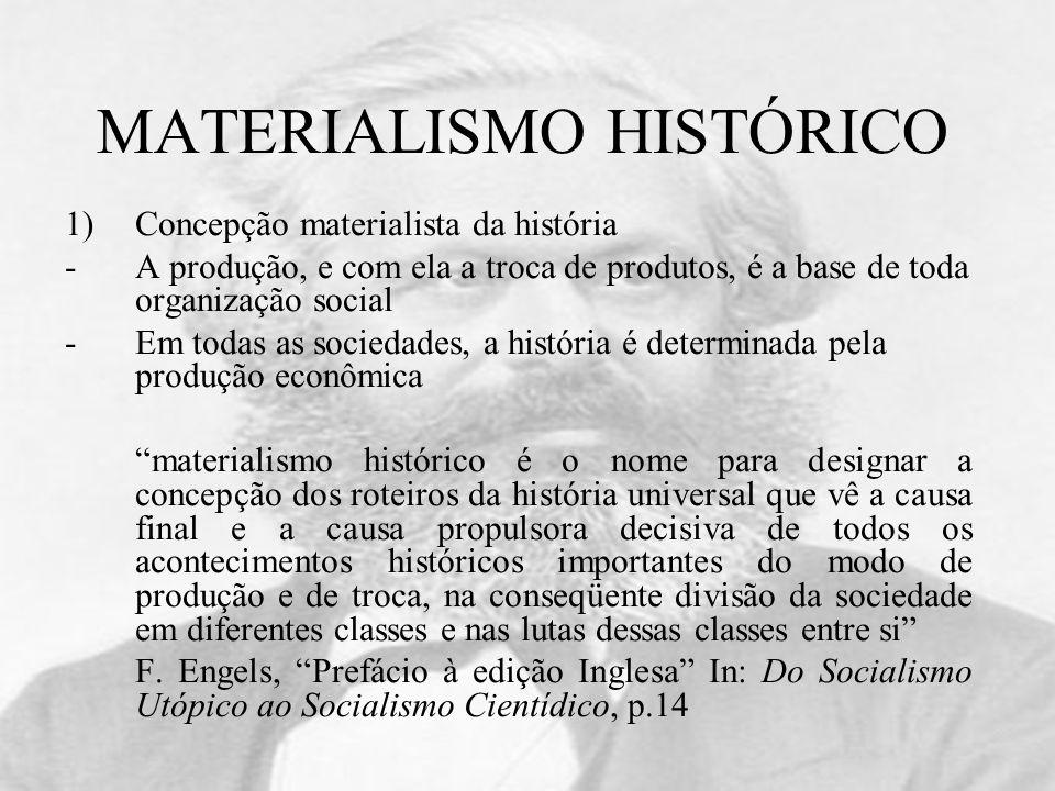 MATERIALISMO HISTÓRICO 1)Concepção materialista da história -A produção, e com ela a troca de produtos, é a base de toda organização social -Em todas