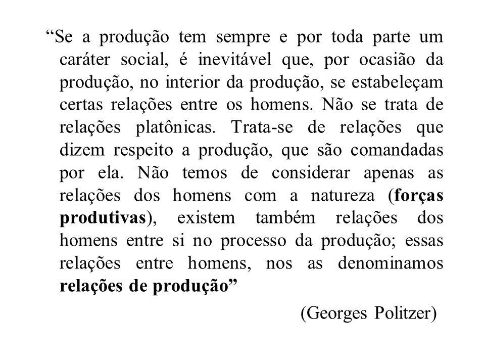"""""""Se a produção tem sempre e por toda parte um caráter social, é inevitável que, por ocasião da produção, no interior da produção, se estabeleçam certa"""