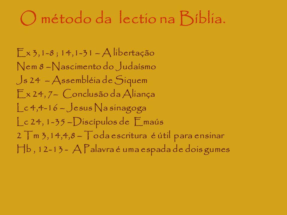 O método da lectio na Bíblia. Ex 3,1-8 ; 14,1-31 – A libertação Nem 8 –Nascimento do Judaísmo Js 24 – Assembléia de Siquem Ex 24, 7– Conclusão da Alia