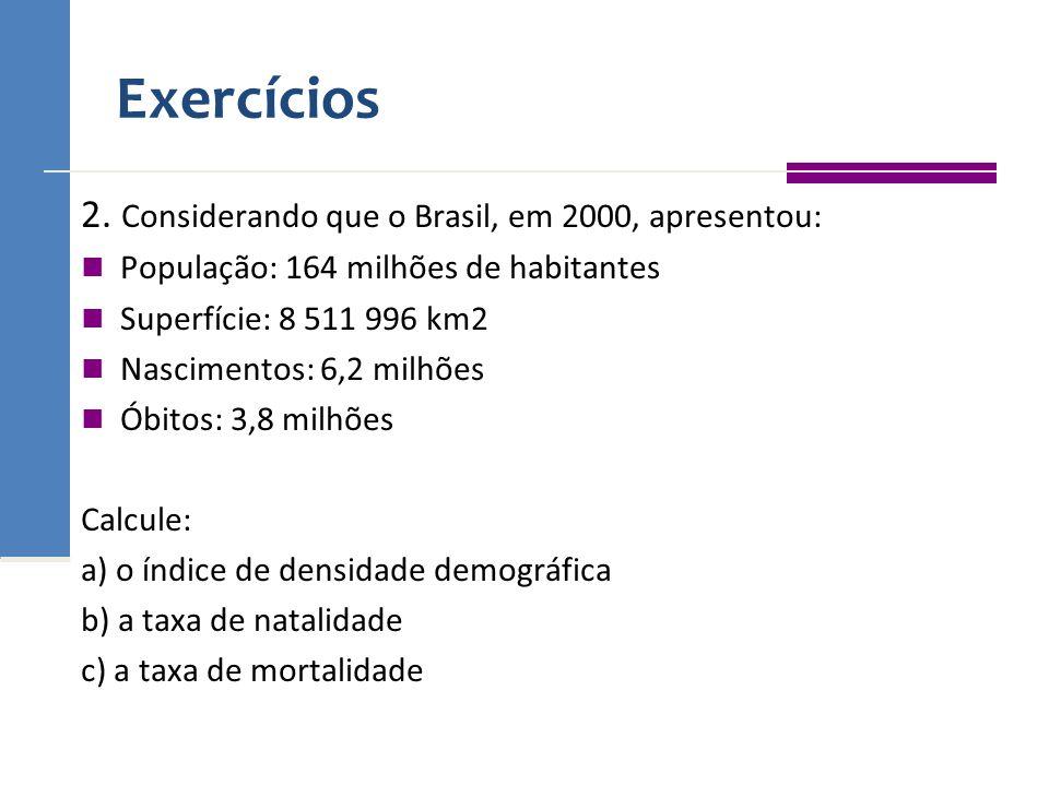 Exercícios 2. Considerando que o Brasil, em 2000, apresentou: População: 164 milhões de habitantes Superfície: 8 511 996 km2 Nascimentos: 6,2 milhões