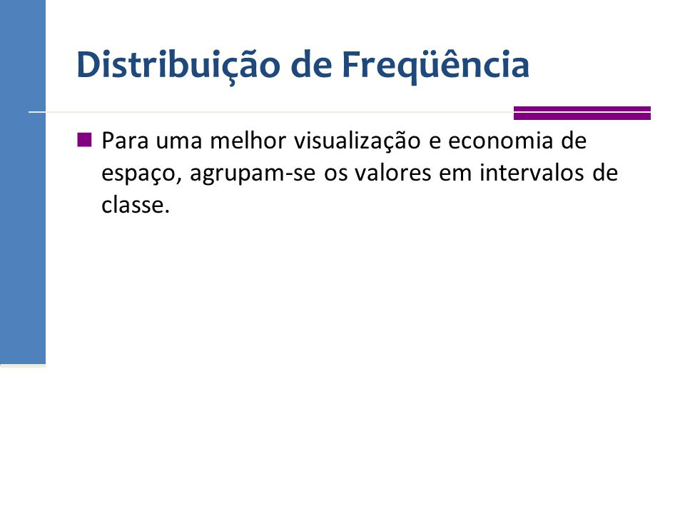 Distribuição de Freqüência Para uma melhor visualização e economia de espaço, agrupam-se os valores em intervalos de classe.