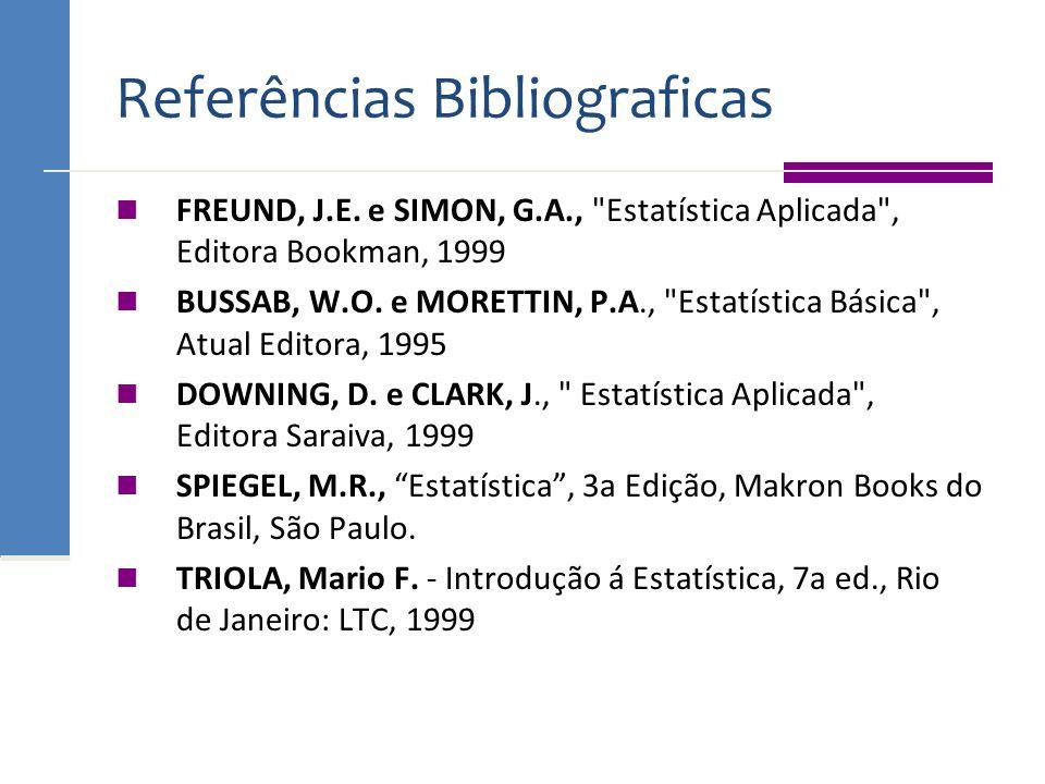 Referências Bibliograficas FREUND, J.E. e SIMON, G.A.,