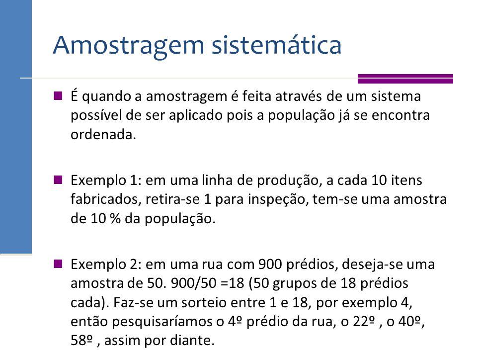 Amostragem sistemática É quando a amostragem é feita através de um sistema possível de ser aplicado pois a população já se encontra ordenada. Exemplo