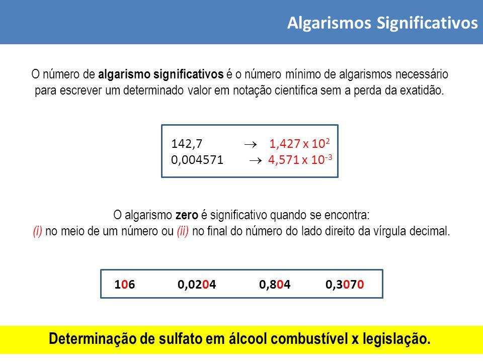 Algarismos Significativos O número de algarismo significativos é o número mínimo de algarismos necessário para escrever um determinado valor em notação cientifica sem a perda da exatidão.