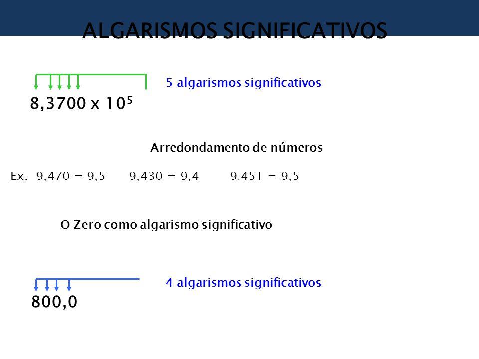 ALGARISMOS SIGNIFICATIVOS 8,3700 x 10 5 5 algarismos significativos Arredondamento de números Ex.