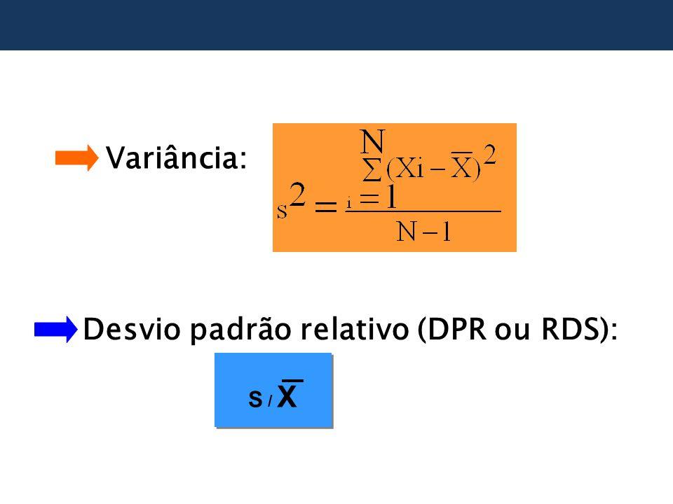 Variância: Desvio padrão relativo (DPR ou RDS): S / X