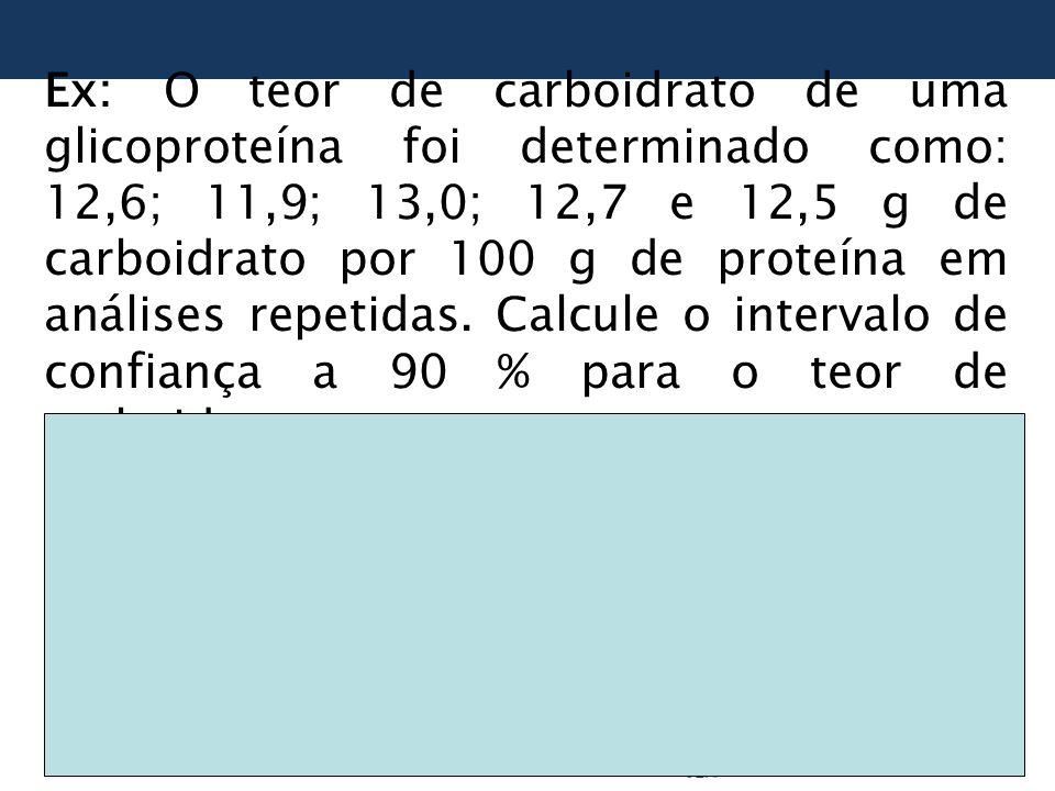 Ex: O teor de carboidrato de uma glicoproteína foi determinado como: 12,6; 11,9; 13,0; 12,7 e 12,5 g de carboidrato por 100 g de proteína em análises repetidas.