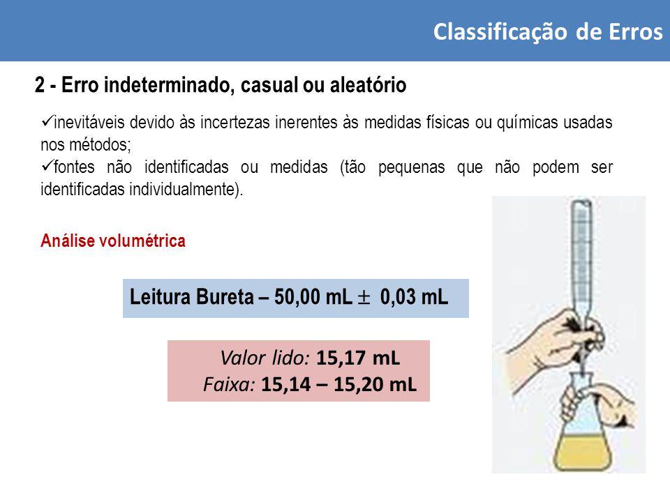 Classificação de Erros 2 - Erro indeterminado, casual ou aleatório inevitáveis devido às incertezas inerentes às medidas físicas ou químicas usadas nos métodos; fontes não identificadas ou medidas (tão pequenas que não podem ser identificadas individualmente).