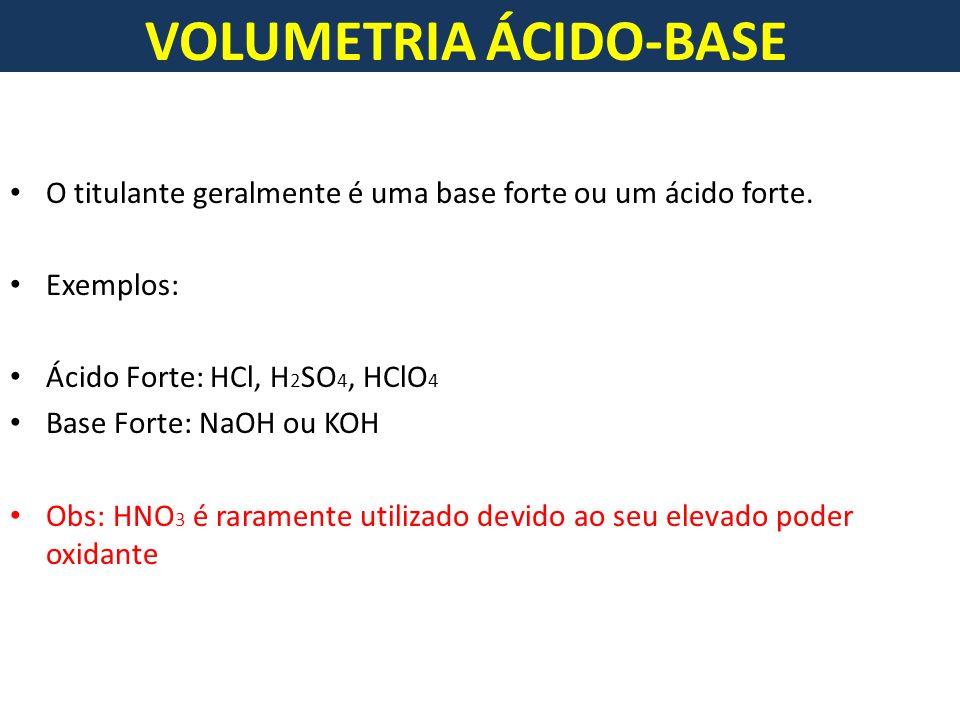 VOLUMETRIA ÁCIDO-BASE O titulante geralmente é uma base forte ou um ácido forte.