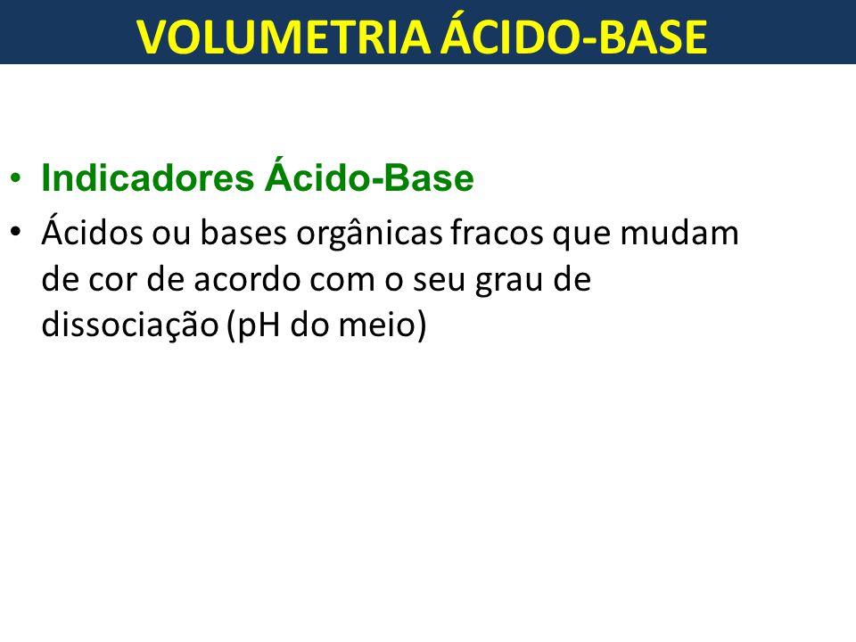 VOLUMETRIA ÁCIDO-BASE Indicadores Ácido-Base Ácidos ou bases orgânicas fracos que mudam de cor de acordo com o seu grau de dissociação (pH do meio)