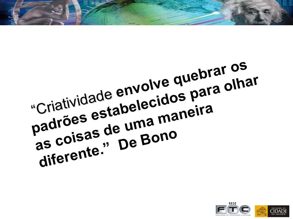 Criatividade Criatividade envolve quebrar os padrões estabelecidos para olhar as coisas de uma maneira diferente. De Bono