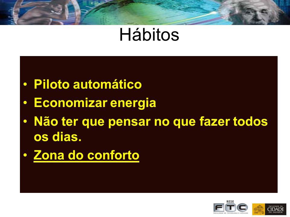 Hábitos Piloto automático Economizar energia Não ter que pensar no que fazer todos os dias.
