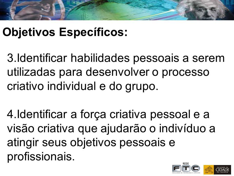 3.Identificar habilidades pessoais a serem utilizadas para desenvolver o processo criativo individual e do grupo.
