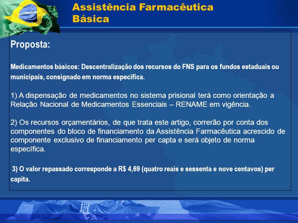 Assistência Farmacêutica Básica Proposta: Medicamentos básicos: Descentralização dos recursos do FNS para os fundos estaduais ou municipais, consignad