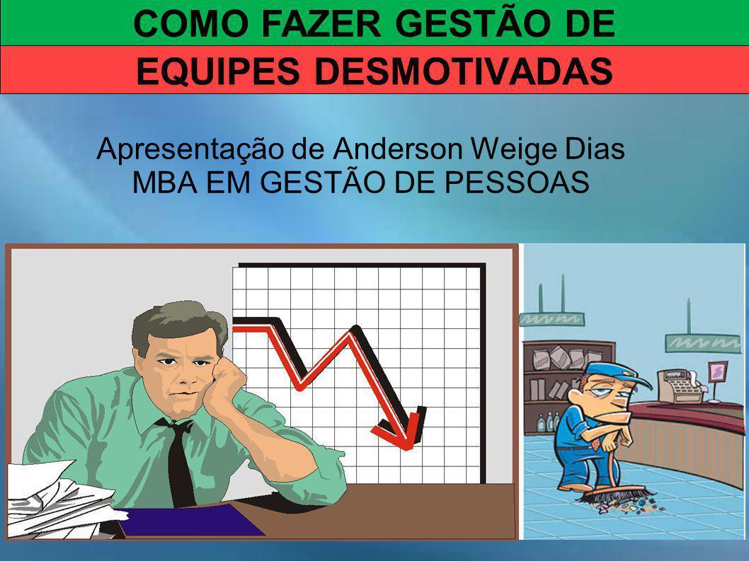 Apresentação de Anderson Weige Dias MBA EM GESTÃO DE PESSOAS COMO FAZER GESTÃO DE EQUIPES DESMOTIVADAS