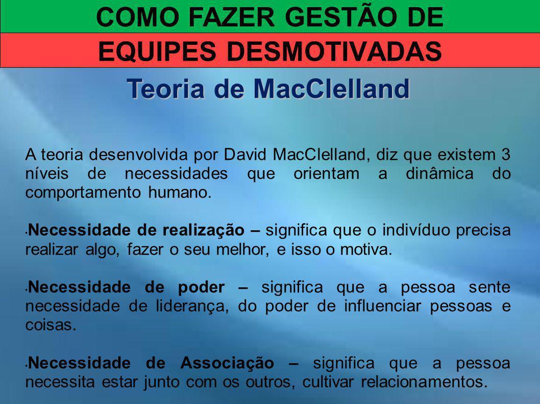 COMO FAZER GESTÃO DE EQUIPES DESMOTIVADAS Teoria de MacClelland A teoria desenvolvida por David MacClelland, diz que existem 3 níveis de necessidades que orientam a dinâmica do comportamento humano.