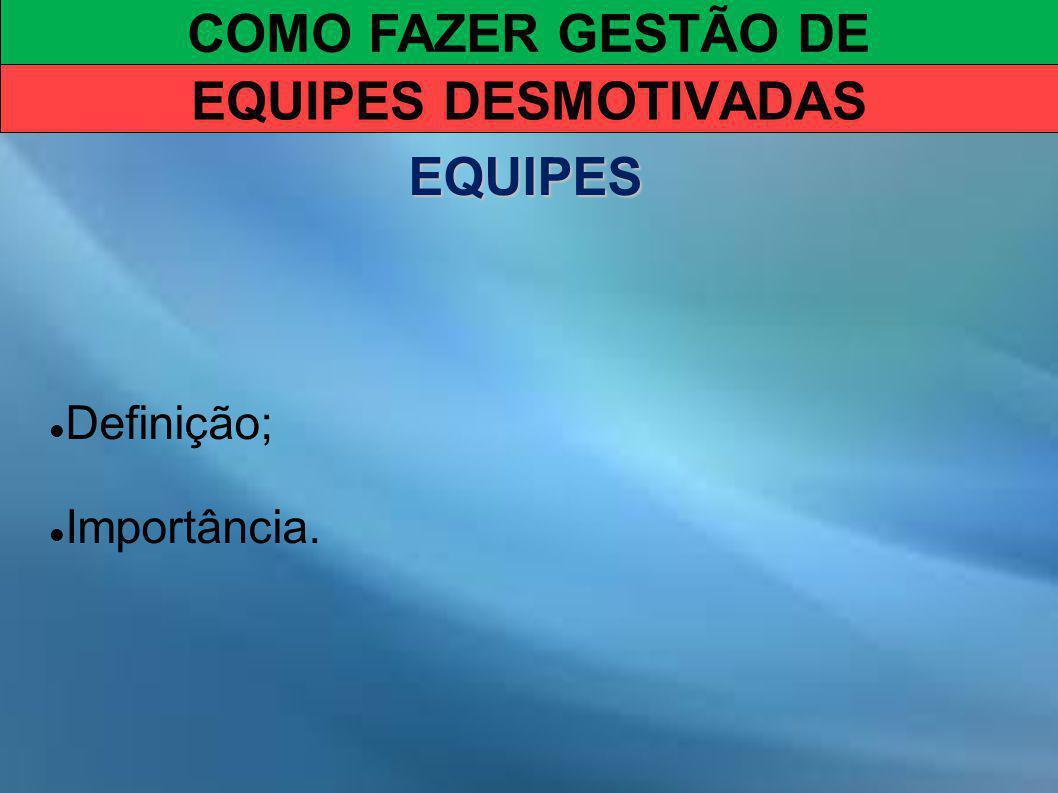 COMO FAZER GESTÃO DE EQUIPES DESMOTIVADAS EQUIPES Definição; Importância.