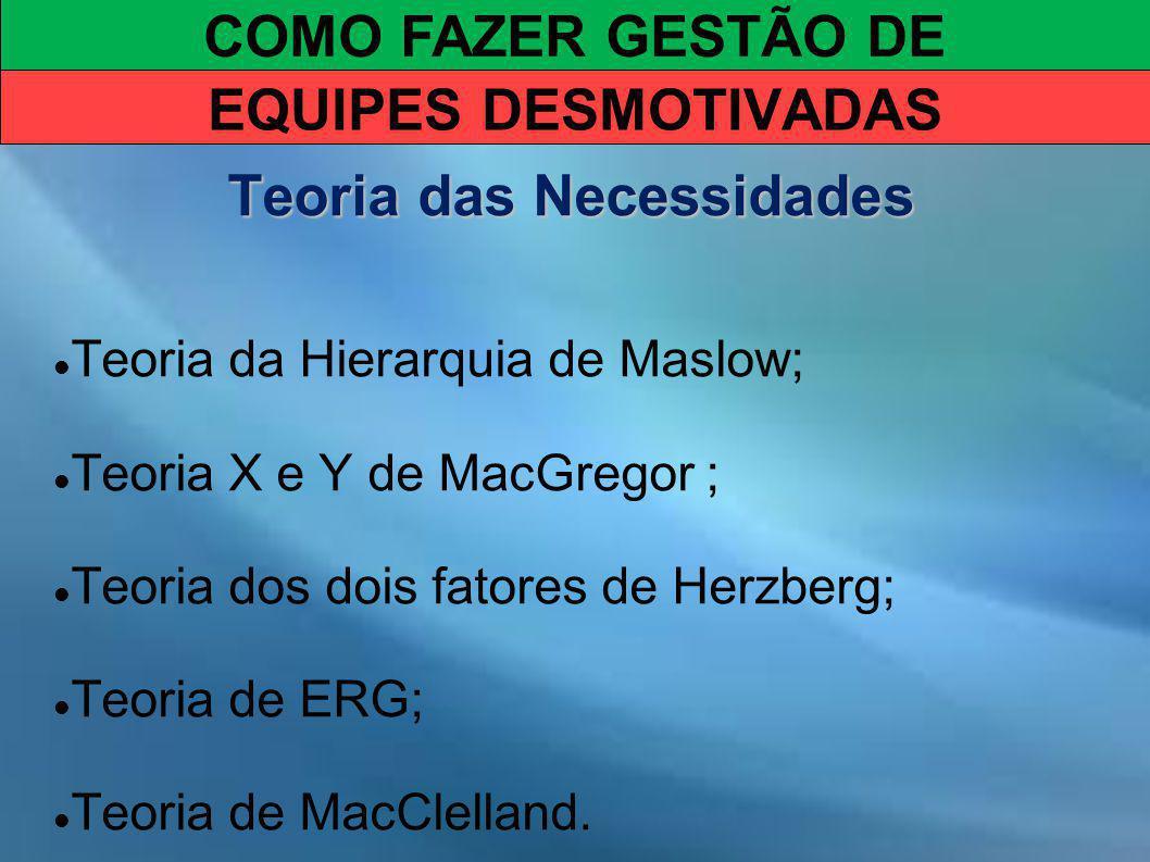COMO FAZER GESTÃO DE EQUIPES DESMOTIVADAS Teoria das Necessidades Teoria da Hierarquia de Maslow; Teoria X e Y de MacGregor ; Teoria dos dois fatores de Herzberg; Teoria de ERG; Teoria de MacClelland.