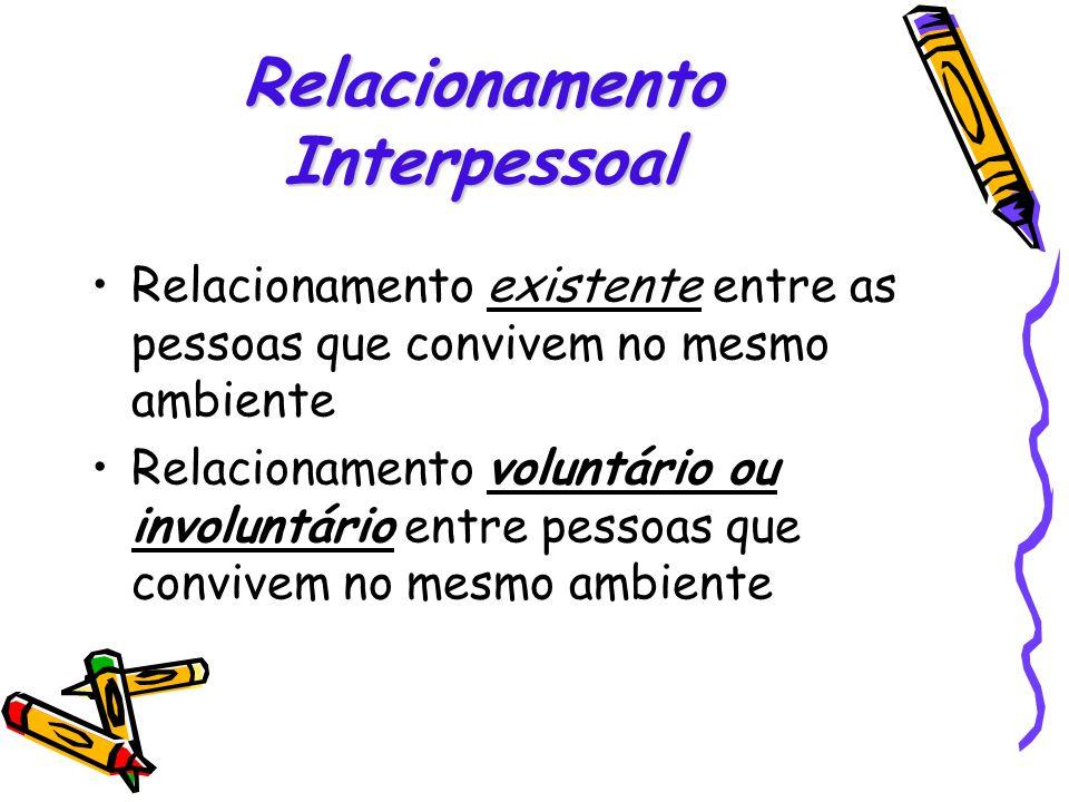 Relacionamento existente entre as pessoas que convivem no mesmo ambiente Relacionamento voluntário ou involuntário entre pessoas que convivem no mesmo
