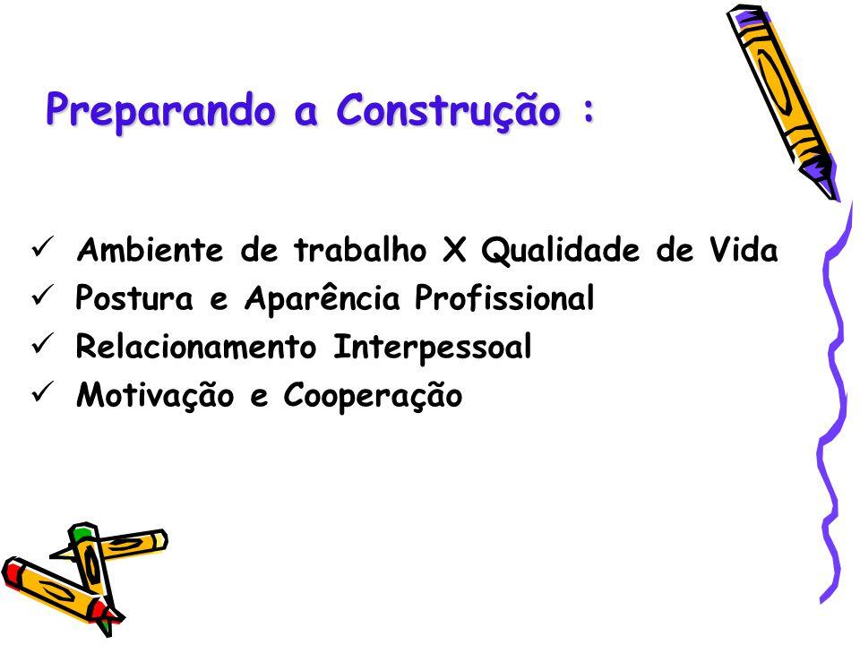 Preparando a Construção : Ambiente de trabalho X Qualidade de Vida Postura e Aparência Profissional Relacionamento Interpessoal Motivação e Cooperação