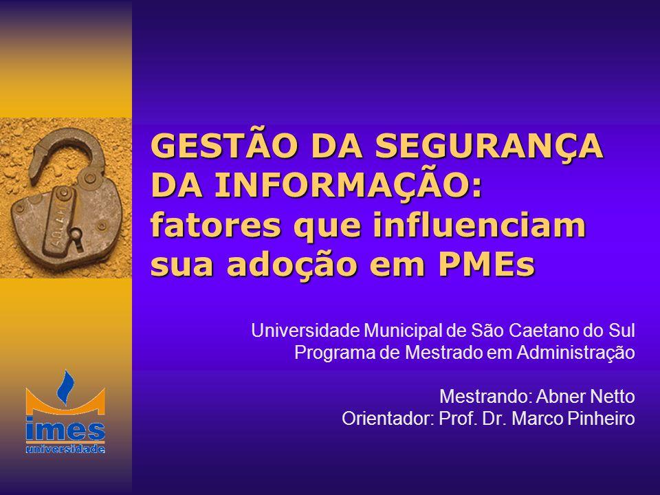 GESTÃO DA SEGURANÇA DA INFORMAÇÃO: fatores que influenciam sua adoção em PMEs Universidade Municipal de São Caetano do Sul Programa de Mestrado em Adm