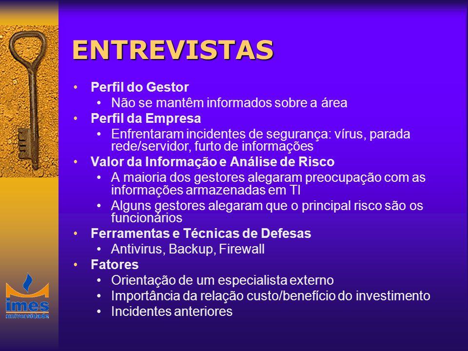 ENTREVISTAS Perfil do Gestor Não se mantêm informados sobre a área Perfil da Empresa Enfrentaram incidentes de segurança: vírus, parada rede/servidor,